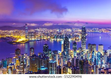 Hong Kong skyline at dawn - stock photo