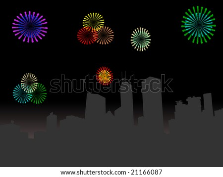 Hong Kong skyline at night with colourful fireworks illustration JPEG - stock photo