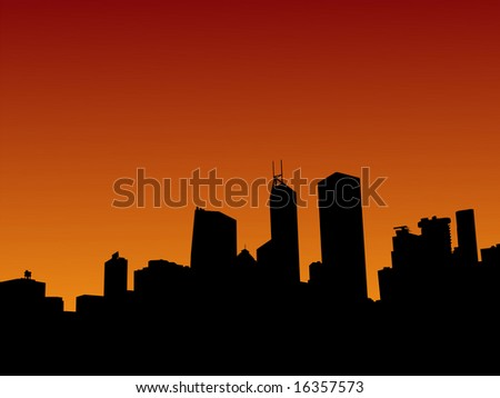 Hong Kong skyline at sunset with beautiful sky illustration JPG