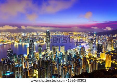 Hong Kong skyline during sunrise - stock photo