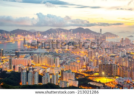 Hong Kong Skyline Kowloon from Fei Ngo Shan hill sunset - stock photo