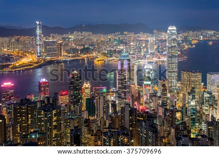 Hong Kong skyline twilight top view from the peak