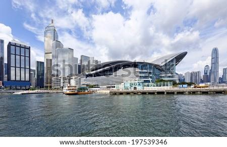 Hong Kong Skyline , Wan Chai Waterfront Promenade  - stock photo