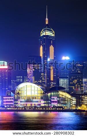 Hong Kong skylines office buildings at night - stock photo