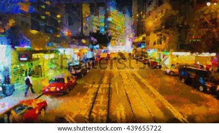 Hong Kong Street Night colorful painted oil paints and palette knife. Digital structure - stock photo