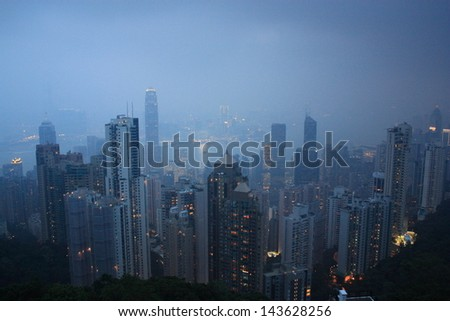 Hong Kong Victoria Harbor at night view from the peak.