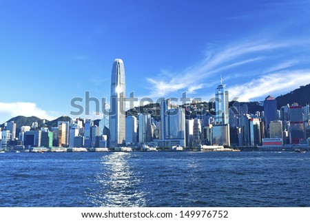 Hong Kong view along Victoria Harbor - stock photo