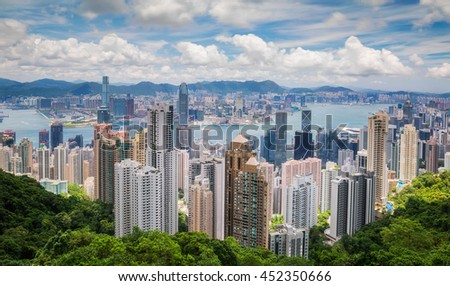 Hong Kong view from top of victoria park - stock photo
