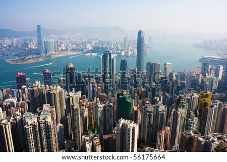 Hong Kong viewed from Victoria Peak - stock photo