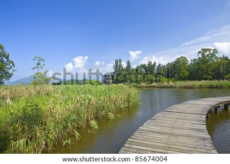 Hong Kong Wetland Park, it is the first wetland park in this city. - stock photo