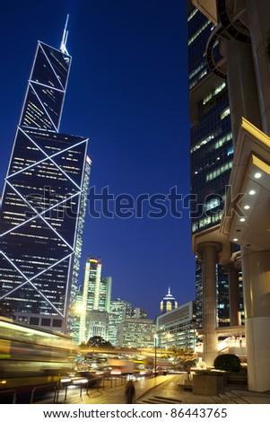 Hongkong at night - stock photo