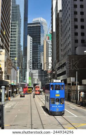 HONGKONG, CHINA - JULY 10 : Hongkong downtown Central area with Tram taken July 10, 2009.  - stock photo