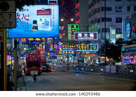 HONGKONG, CHINA-MAY 28: Shoppers along Nathan road in Kowloon at night. For the 40 millions visitors per year this road is world famous as the Golden Mile. May 28, 2008 in Hong Kong, China