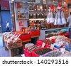 HONGKONG, CHINA-NOVEMBER 23: Sheung Wan market dry fish shops in Des Voeux Road are city landmark. More than 300 dried seafood shops are operating since 19 century. November 23, 2007 Hong Kong China - stock photo