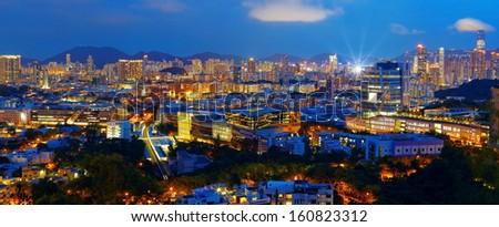 hongkong city night - stock photo