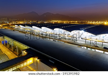 HongKong International Airport at the evening