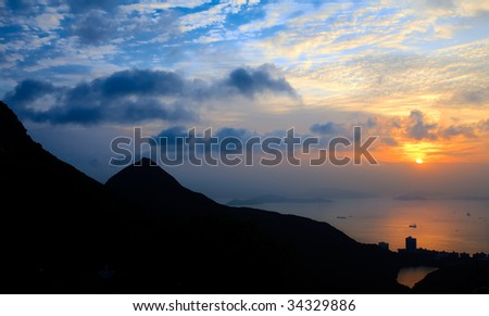 HongKong Peak at sunset - stock photo