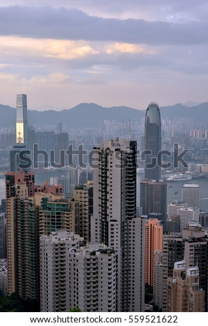 HONGKONG - SEPTEMBER 15: Hongkong Victoria harbor and city center skyscrapers view from TaiPing Peak, on September 15, 2016 in Hongkong, China. Hongkong is a big international city in South of China.