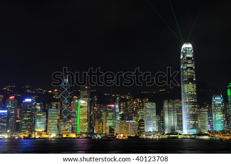 Hongkong Skyline with Ray of Light