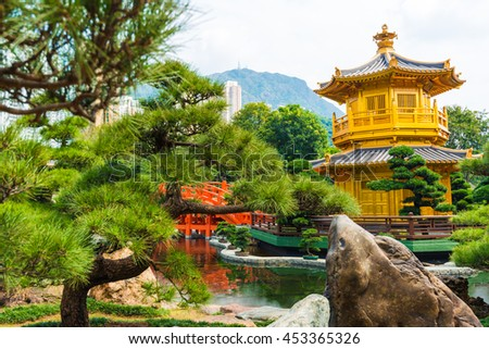 Hongkong Temple Pavilion of Absolute Perfection in the Nan Lian Garden with river, Hong Kong.