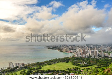 Honolulu and Waikiki Beach seen from Diamond Head Crater - Hawaii, USA - stock photo