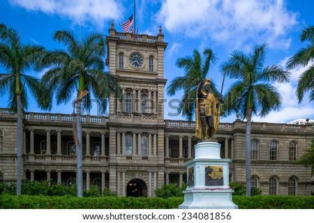 Honolulu, Aug 6:  King Kamehameha Statue is draped with flowers.  Honolulu, Hawaii, USA, August 6, 2014 - stock photo
