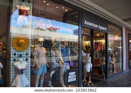 HONOLULU - AUGUST 7, 2014: American Apparel fashion store  at the Ala Moana Center on August 7, 2014. American Apparel was founded in 1989 and has 273 store locations as of 2013.   - stock photo