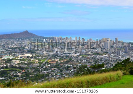 Honolulu, Hawaii and with Diamond Head in the distance.