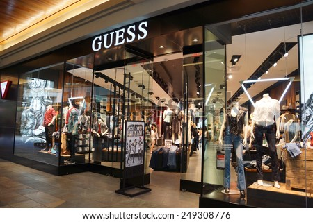 HONOLULU, HAWAII - AUGUST 7: Guess Shop on August 7, 2014 in Ala Moana Mall on Oahu, the store is an American upscale clothing line brand and during 1980s was one of the most popular brands of jeans.