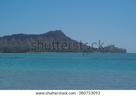 Honolulu, Hawaii, USA, Feb. 23, 2016:  Hazy Winter morning view of Waikiki and Diamond Head Crater.  Volcanic haze is present in Hawaii this year. - stock photo