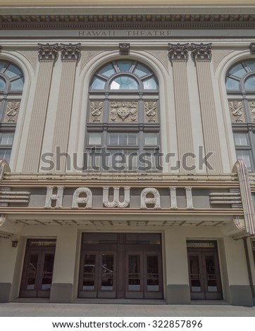 Honolulu, Hawaii, USA, Oct. 1, 2015:  Bethel Street view of the newly renovated Hawaii State Theater in the Chinatown District of Honolulu.  The building is now on the National Historical Registry.