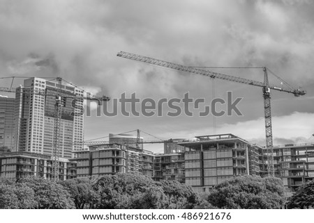 Honolulu, Hawaii, USA, Sept. 21, 2016:  Morning panorama of new construction at the Ala Moana Shopping Center.