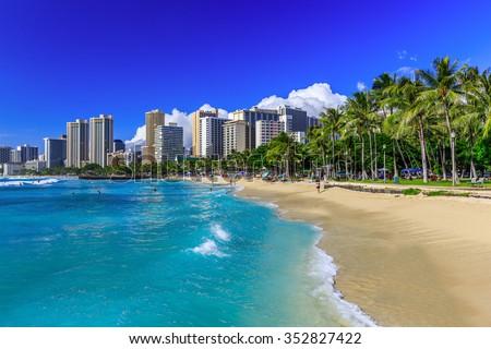 Honolulu, Hawaii. Waikiki beach and Honolulu's skyline. - stock photo