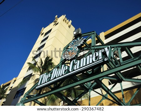 HONOLULU, HI - JUNE 4, 2015: The Dole Cannery Sign in front of building island of Oahu in the state of Hawaii.  Dole Cannery is an office and retail complex. - stock photo