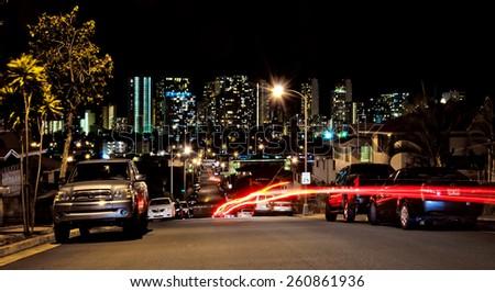 HONOLULU, HI, USA - August 28, 2013: night view of urban skyline in Honolulu, Oahu, Hawaii. Honolulu is the state capital and the most populous city in the U.S. state of Hawaii. - stock photo