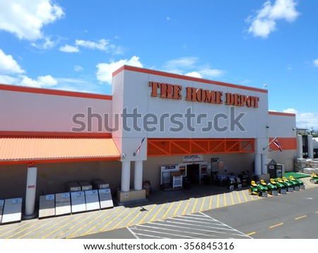 Honolulu, HI, USA - August 4, 2015: Oahu Home Depot, Founded 1978, Home Depot is retailer of home improvement, construction products and services. It's the largest home improvement retailer in USA. - stock photo