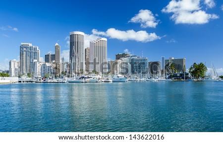 Honolulu skyline with seafront, Oahu Hawaii - stock photo