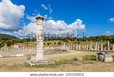 honor column in Ancient Messina, Peloponnes, Greece - stock photo