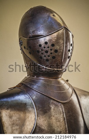 honor, medieval armor made of wrought iron - stock photo
