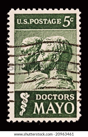 Honoring doctors William  and Charles Mayo. Issued in 1964