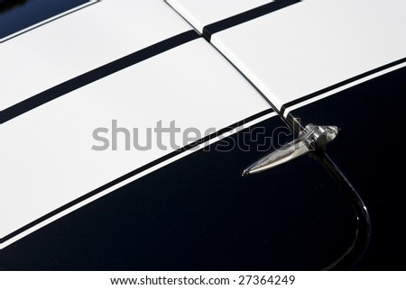 Hood and hinge of sports car