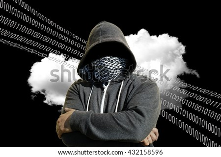 Hooded and masked computer hacker thief with a cloud computer based background. Unknown technology threat to the cloud mainframe idea. Copy space area.