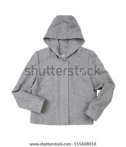 Hooded female jacket isolated on white background  - stock photo