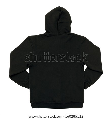 Hooded sweater (back view) isolated on white background