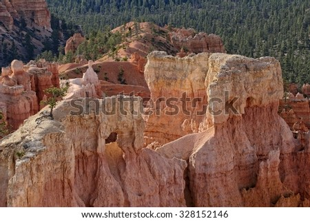 Hoodoo landscape of Bryce Canyon National Park, Utah. - stock photo