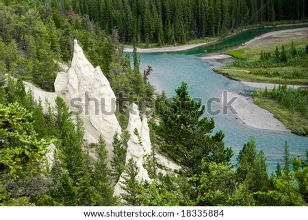 Hoodoos along the Bow Valley in Banff - stock photo