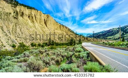 Hoodoos along the Nicola River and Highway 8 between Merritt and Spences Bridge in British Columbia - stock photo