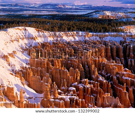 Hoodoos in Winter, Bryce Canyon National Park, Utah - stock photo