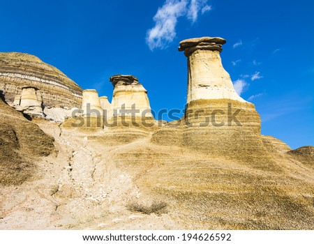 Hoodoos near Drumheller, Alberta. Part of the Canadian Badlands in Alberta - stock photo