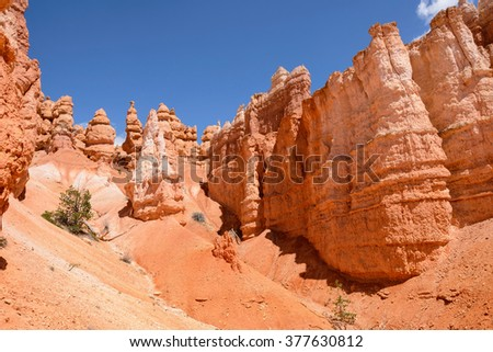 Hoodoos of Bryce Canyon National Park - Colorful hoodoos, against bright blue sky, at Queens Garden of Bryce Canyon National Park, Utah, USA.  - stock photo